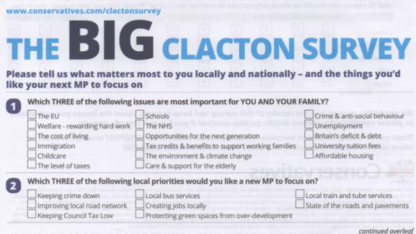 Ukip supporters mock Tory survey asking Clacton voters views on 'local'  services