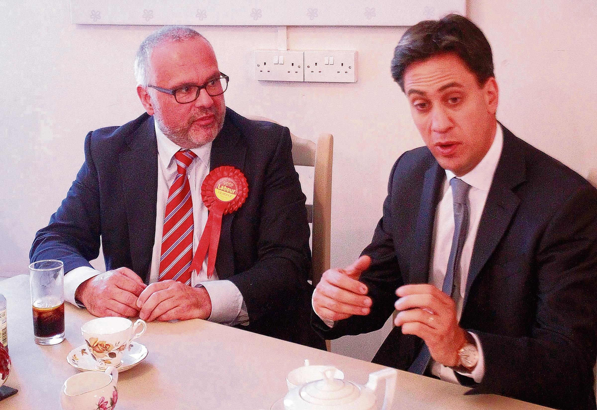 Ed Miliband in Clacton with Labour candidate Tim Young