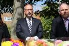 Polish Ambassador Arkady Rzegocki alongside Harlow MP Robert Halfon (right), at The Stow in Harlow, after a 40-year-old Polish man died of head injuries following an unprovoked attack outside a takeaway.