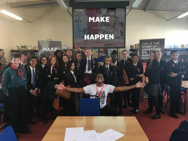 High-energy - Kamal Ellis-Hyman with St Benedict's Catholic College pupils in Colchester