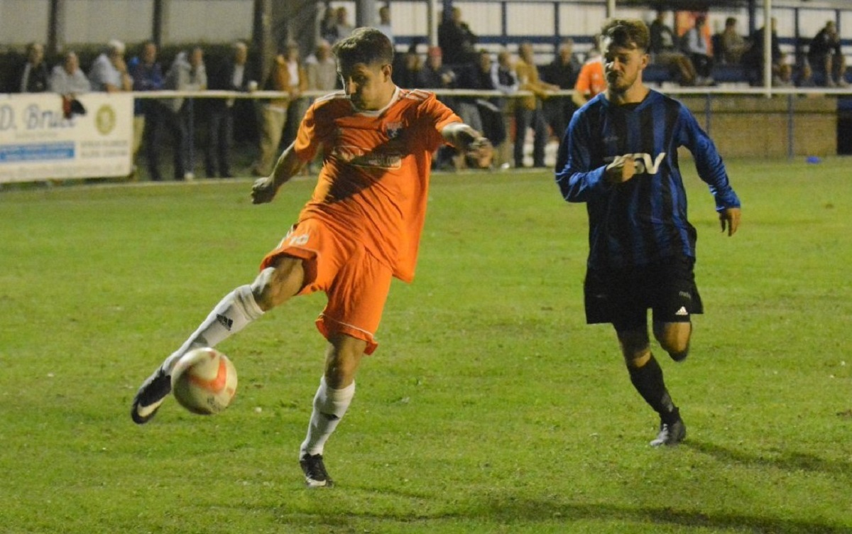 Tom Holdstock in action for Holland against Little Oakley Picture: Ben Pooley