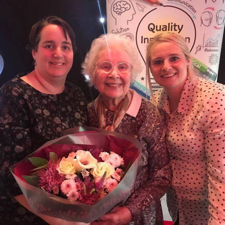 BIG HEART: Audrey Bush picks up her prize at the awards ceremony with care home bosses Michelle Bale and Tracy Josko