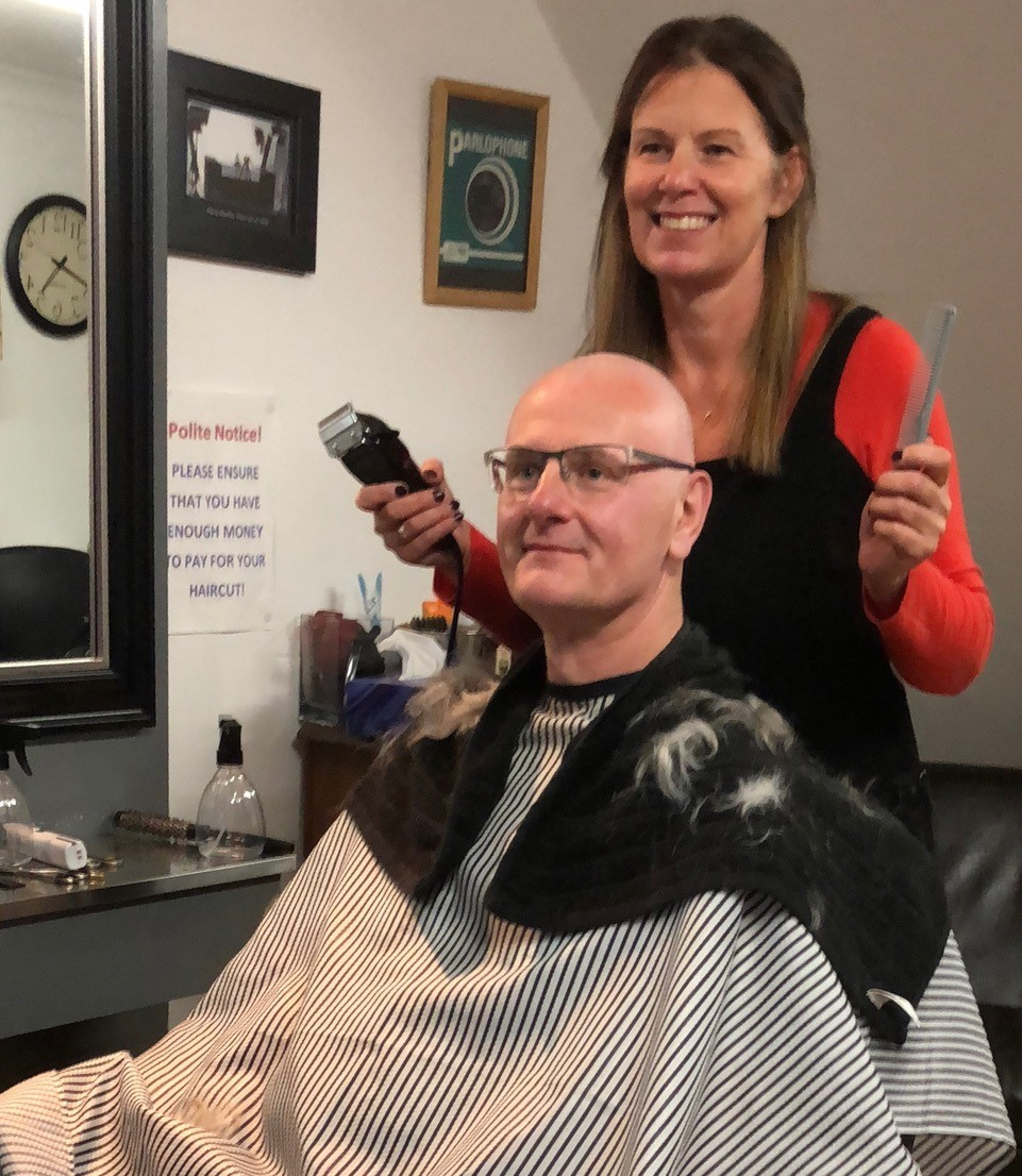 CLOSE SHAVE: David Murray with Angela Wright at Alfie's in Thorpe High Street
