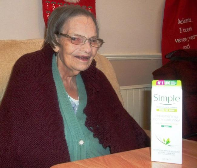 SPECIAL GIFT: Resident Flossie Todd, 88, received her wish for some moisturiser