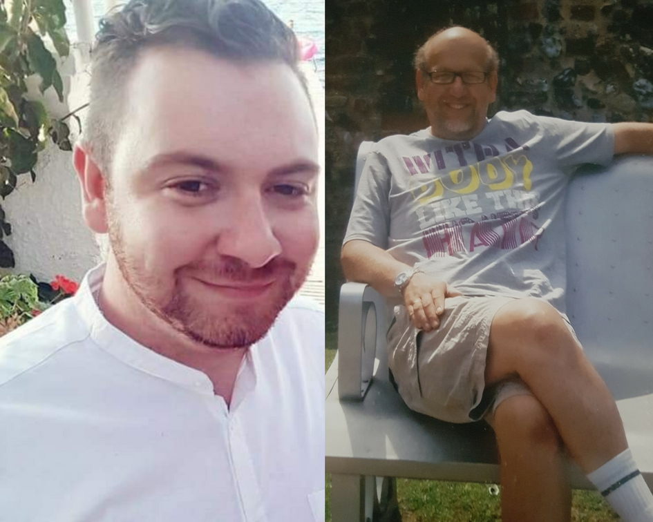 EPIC CHALLENGE: Nathan Price (left) is taking on the challenge in memory of dad Andrew (pictured right) who was cared for by St Helena Hospice