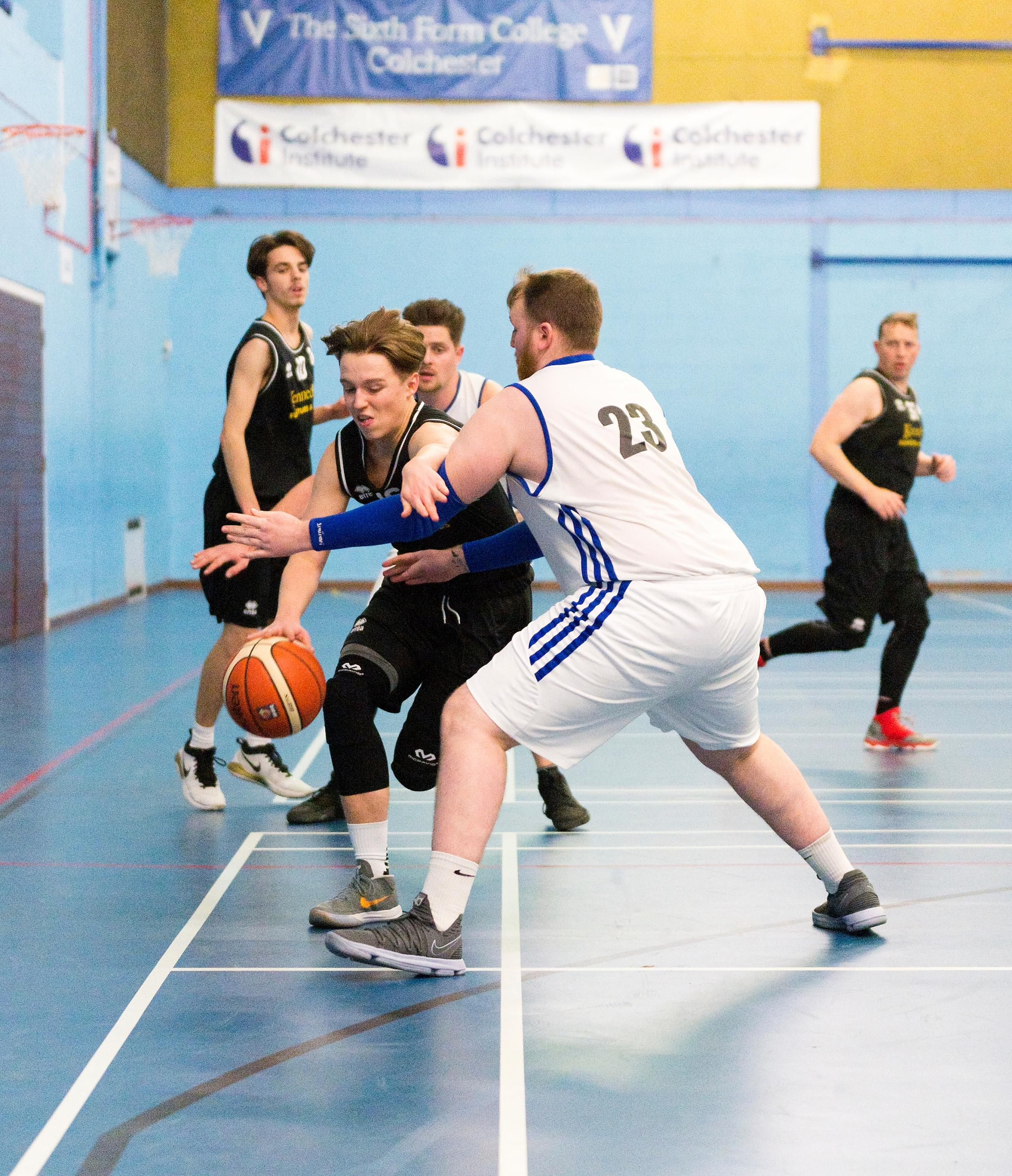 High energy - the Cannons (in black) give their all and are rewarded with a 70-59 success against the Colchester Bulls, in their latest Suffolk Senior League contest Pictures: Hannah Fountain (hrfphotography.co.uk)