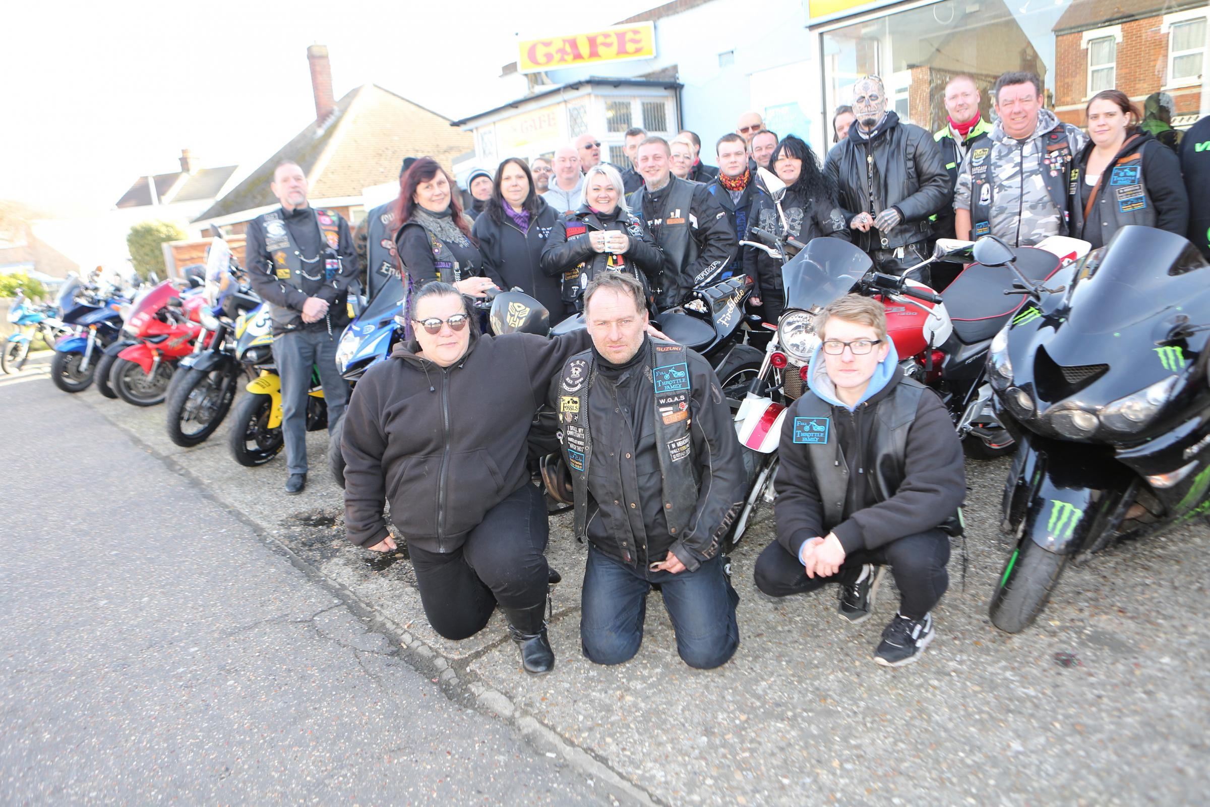 CHARITY RIDE: Bikers from the Full Throttle Cafe in Clacton are delivering Easter eggs to young hospital patients