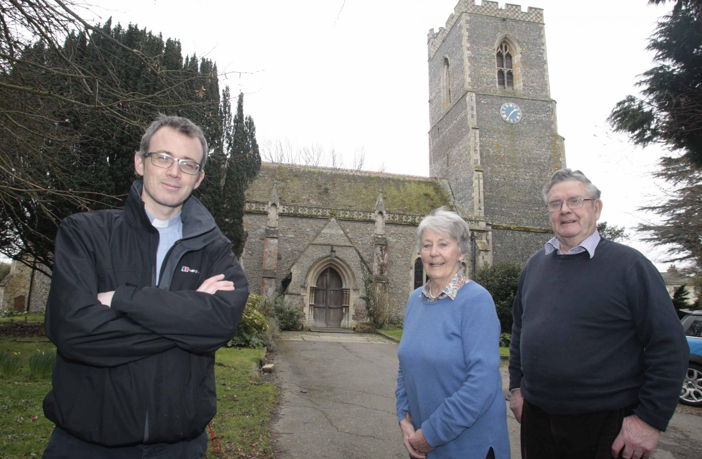 RESTORATION APPEAL: The Rev Mark Holdaway with churchwardens Myra Dansie and John Beale outside St Michael's