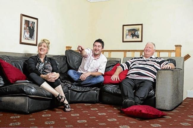 George Gilbey (centre) pictured on Gogglebox