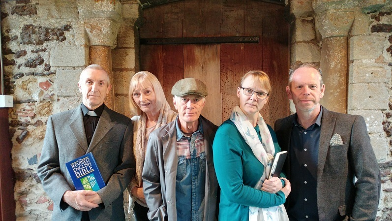 BUT WHODUNNIT? Richard Upston as Toby the Vicar, Lynda McWilliams as Eleanor, Ken Drew as Harry, Pippa Drew as Agatha and Chris Whiteman as Detective Inspector Twigg