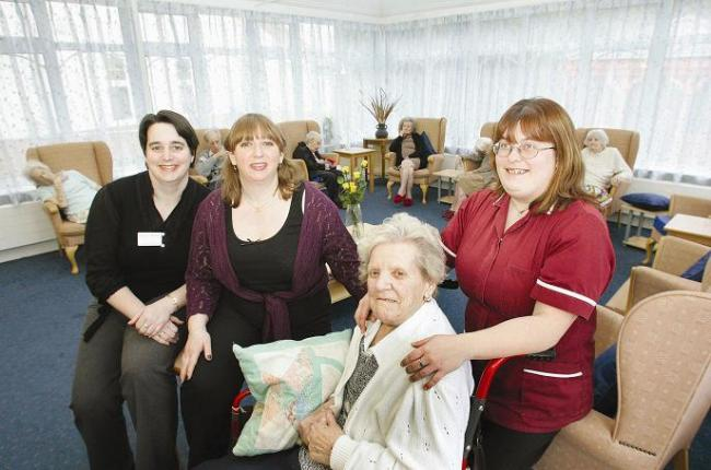 Managers Michelle Cripps, Thalia Gaskell and Charis Sayer with resident Iris Woodhead.