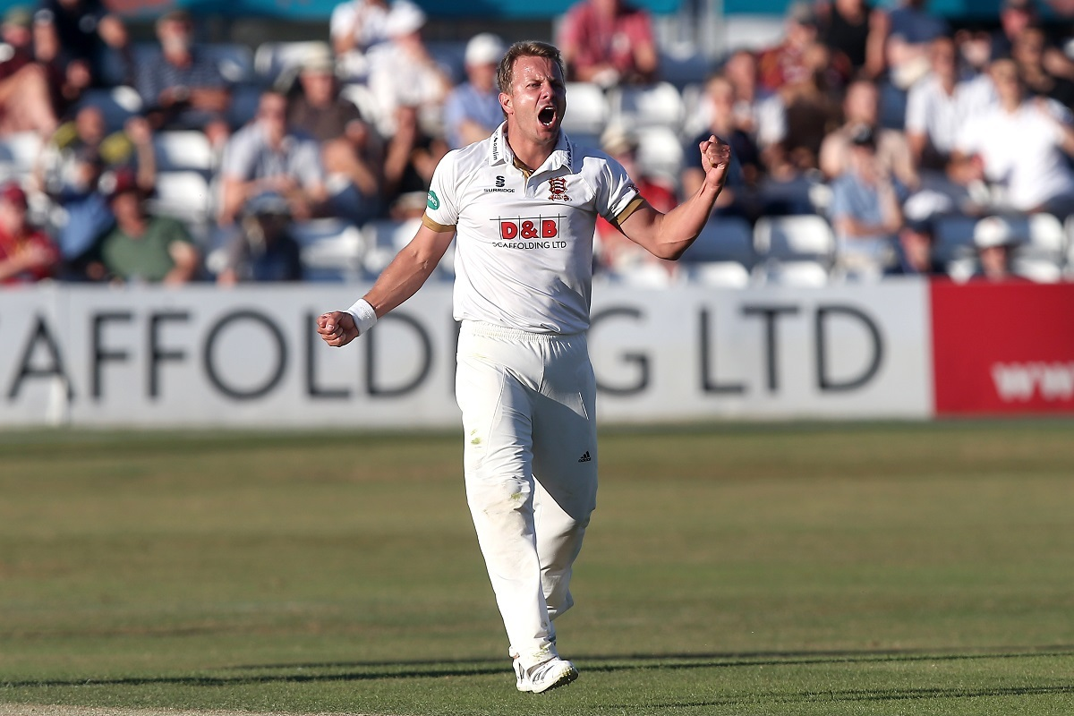 Breakthrough - Essex's Neil Wagner, who took three wickets during Somerset's first innings, celebrates the dismissal of Steven Davies Picture: GAVIN ELLIS/TGSPHOTO