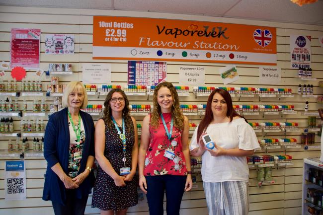 Lynda McWilliams, from Tendring Council, with Donna Porter and Gabriella Springett from Provide and Kerry Ford from Vaporever. Picture: Matt Cattermole