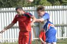 Clacton football v Hadleigh (red).Harvey Cowler.