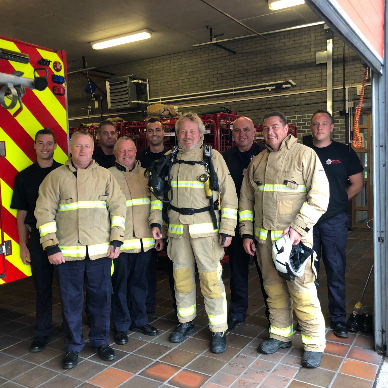 Safety first: Clacton MP Giles Watling joined crews at Clacton Fire Station for a training exercise