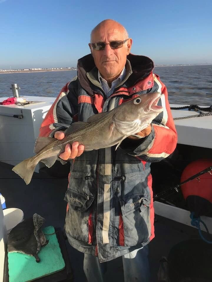 Nice catch - Phil Bingham with a plump codling caught from the Sophie Lea