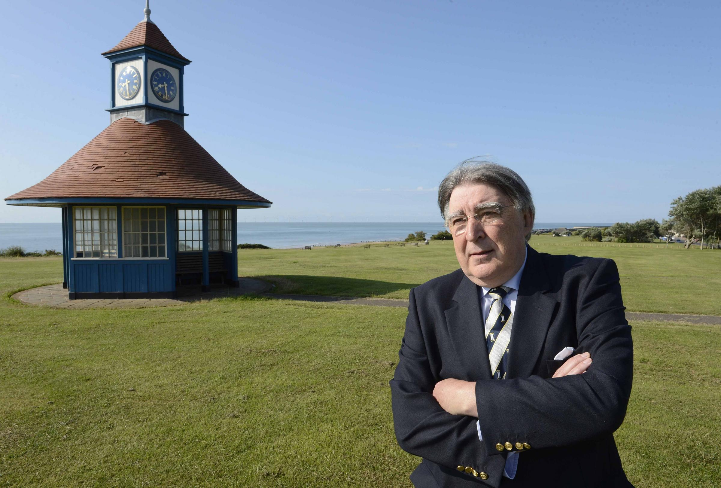 Playtime - Frinton councillor Terry Allen pictyred on the town's iconic Greensward