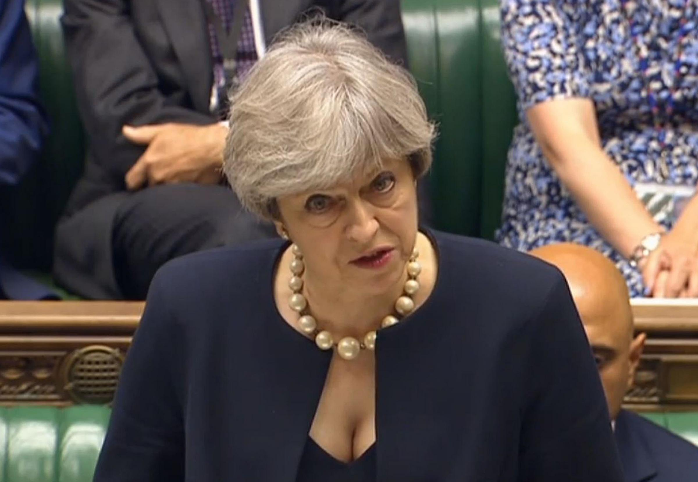 Prime Minister Theresa May speaks in the House of Commons, London, where she said that no immigration checks will be carried out on residents affected by the Grenfell Tower fire. PRESS ASSOCIATION Photo. Picture date: Thursday June 22, 2017. See PA story