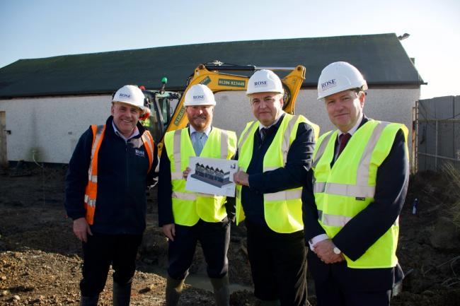 Work underway: A representative of Rose Builders, Paul Price, Tendring Council's director for operational services, councillor Paul Honeywood, and chief executive Ian Davidson. Picture: Matt Cattermole