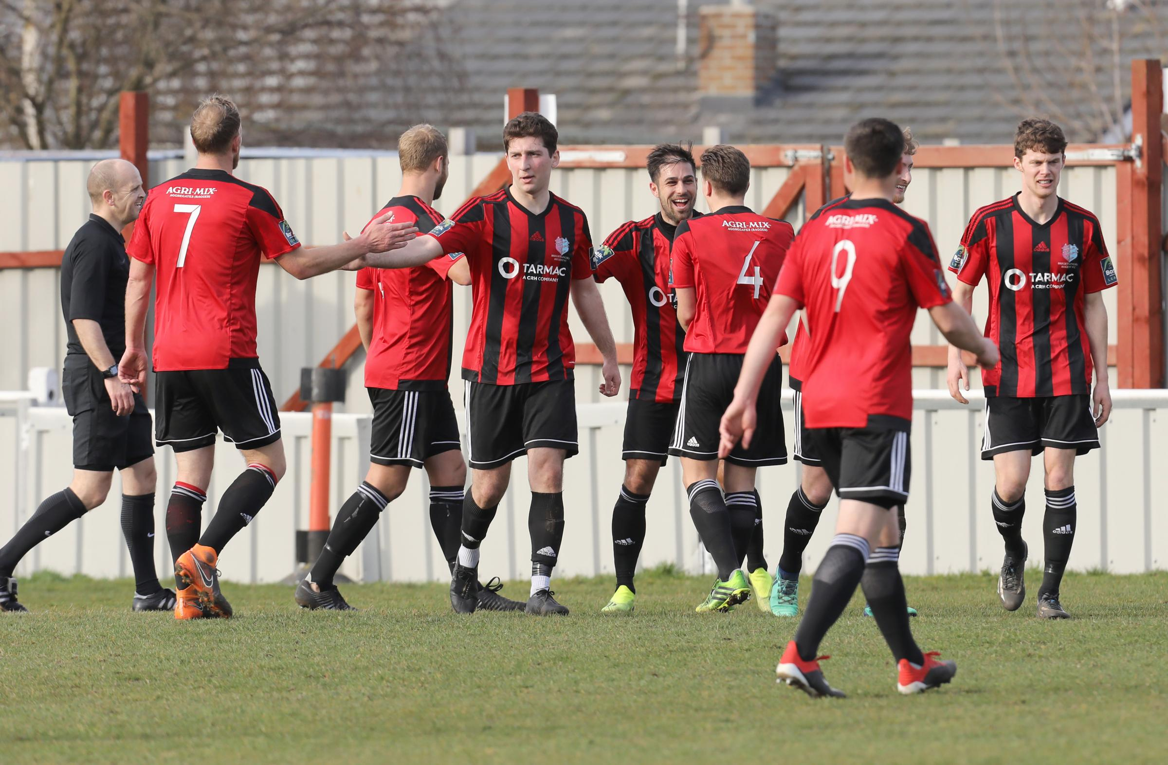 Another goal - Regent celebrate adding to their tally in last weekend's draw at home to Harlow Town. Picture: Steve Brading
