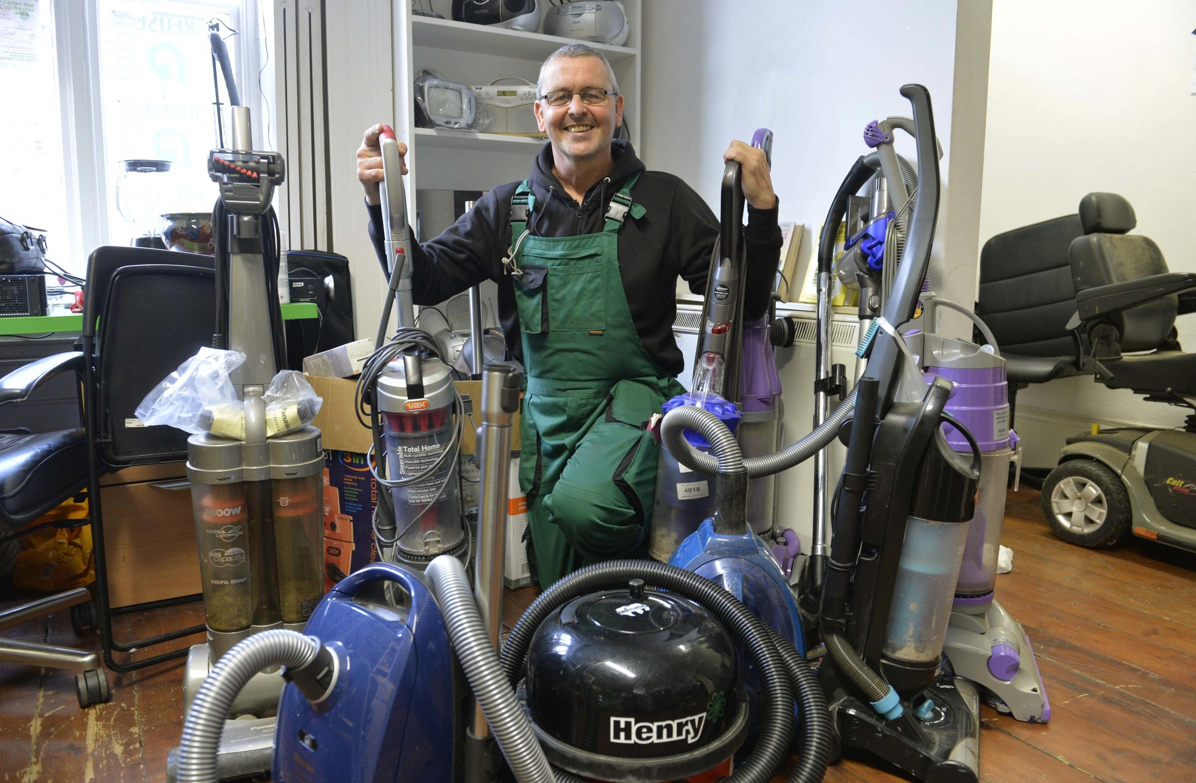 Chris Blomeley, setting up his repair,reuse,recycle shop in Queen Street Colchester. Which will also be supplying environmentally sound detergent.