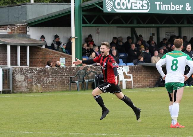 Jake Turner celebrates his winner at Bognor Regis Town Picture: Neil Payne