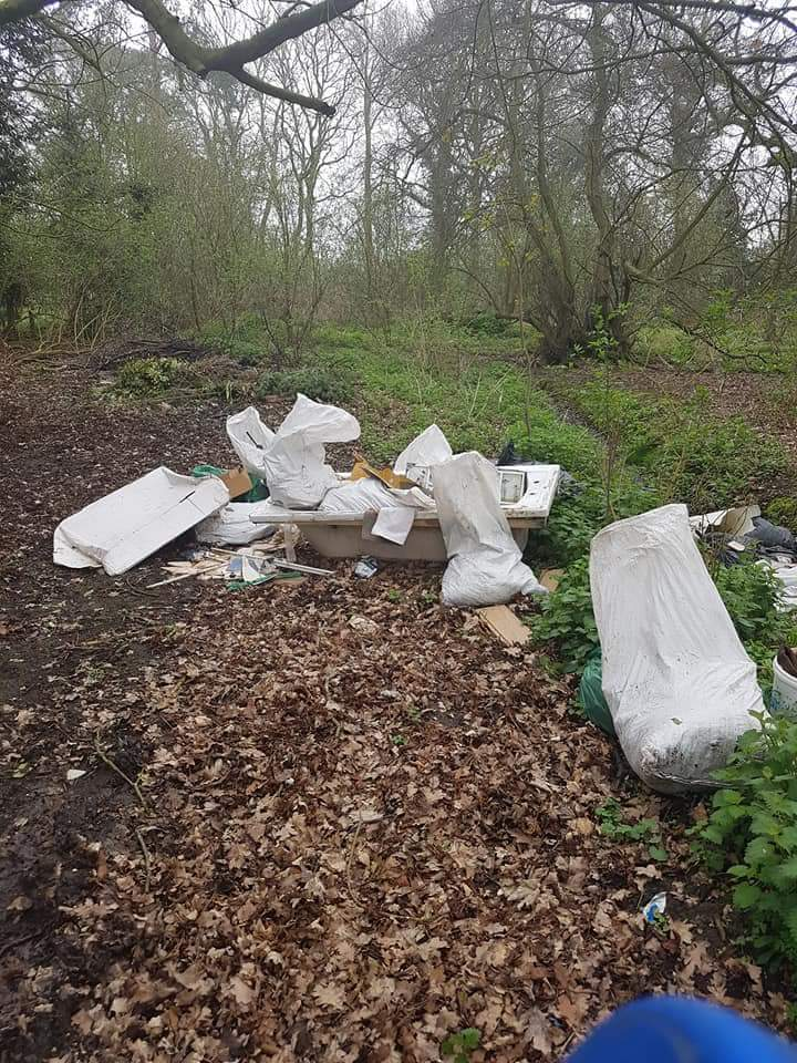 Flytipping at the All Saints churchyard in Great Oakley
