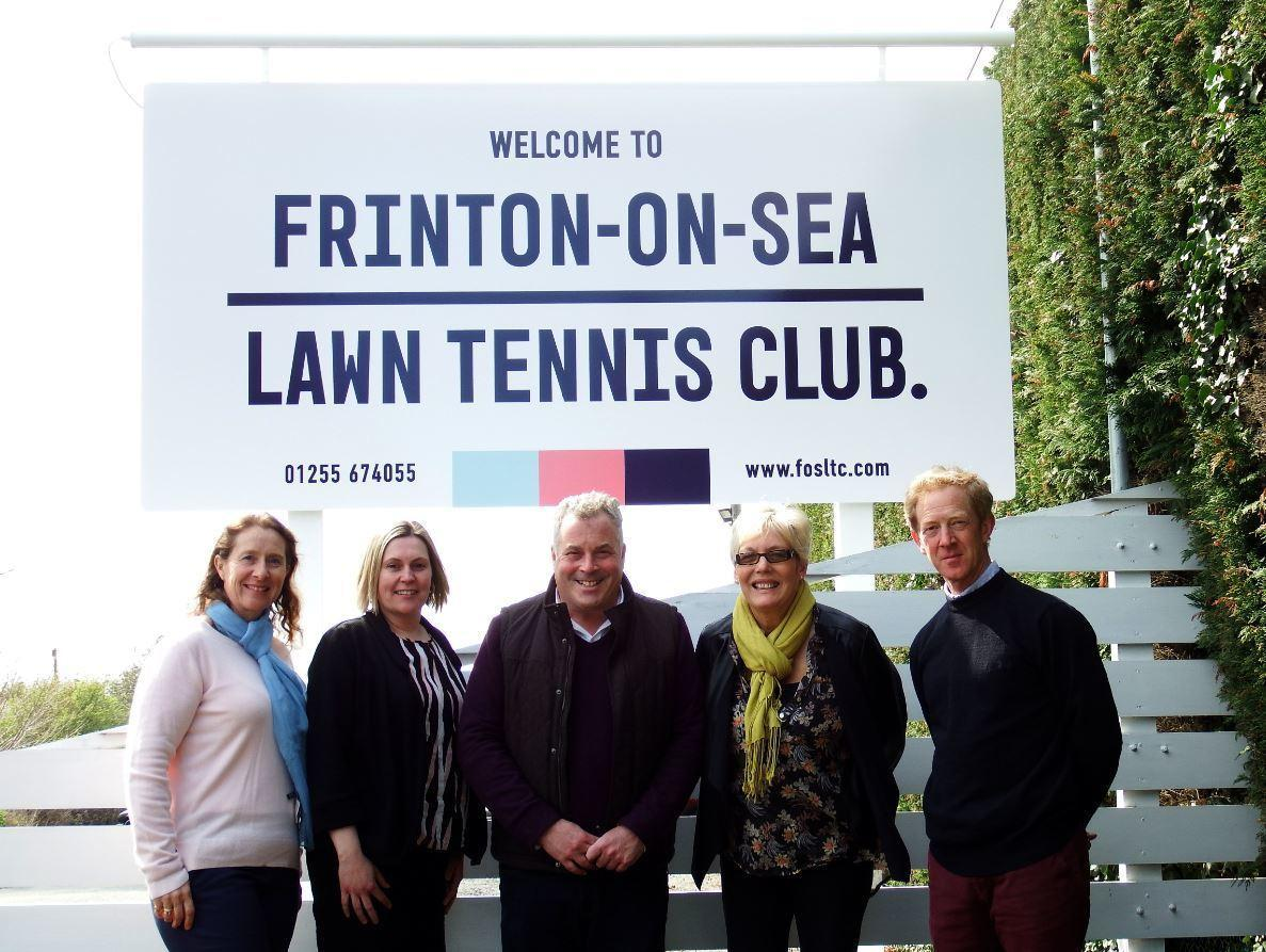 Club colours: Frinton Lawn Tennis Club's Victoria Kunzer, Vicky Cowell, James Max, Kim Willetts and Richard Noel